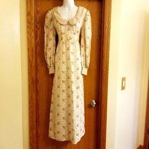 Vintage Boho Floral Prairie Dress Large